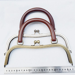 Wholesale Handbag 2pcs - 26cm big size metal purse frame clasp with wood handle DIY girl women handbag accessories 2pcs lot