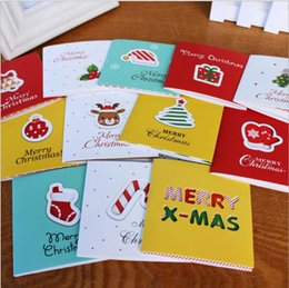 Wholesale Small Invitations Card - Wholesale-12Pcs lot cartoon Small Santa Claus snowman Christmas Birthday Party Hard Paper Greeting Cards Invitation Card gift card