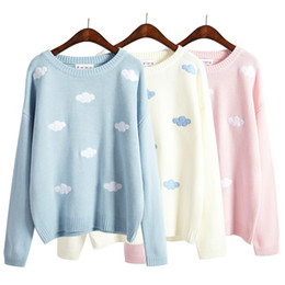 Wholesale Kawaii Knitting - Wholesale- Korean Women Kawaii Stereo Blue Sky Cloudy Sweater For Women Harajuku Cute Knitted O-Neck Female Pullover