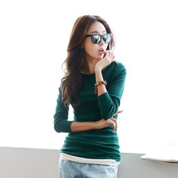 Wholesale Korean Collar Shirt Women - exo Autumn new cotton bottoming shirt plus size Female long-sleeved Korean Slim was thin round collar solid color simple large 6681