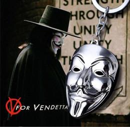 Wholesale Metal Animal Masks - V for Vendetta mask logo metal keychain alloy keyring anime key holder charms pendant for car and bag key buckle fans jewelry