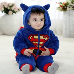 Wholesale Halloween Costume Spiderman - Newborn Clothes Spiderman Superman Batman Onesie 2017 Baby Romper Costume Hooded Flannel Infant Romper Toddler Jumpsuit Boys Girls Clothing