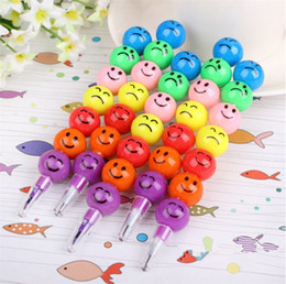 Wholesale Rainbow Pencils - Smiley Cartoon Stationery Pencils Children Gift Rainbow Pen With Funny Faces