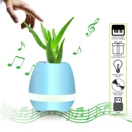 Wholesale Dhl Mini Rechargeable Speaker Bluetooth - 10Pcs By DHL Music Plant Lamp smart flower-pots Rechargeable waterproof bluetooth speaker Wireless Smart Touch Plant Piano Music Playing