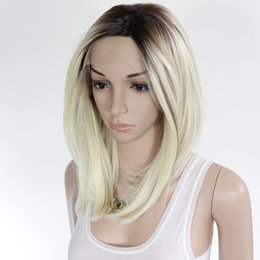 Wholesale hair color beyonce - kanekalon synthetic lace front wig ombre bob wig artificial hair beyonce wig blonde lace front wigs for women