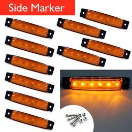 Wholesale Side Light Led Truck - 10x 12 24v 6LED Side Marker Light for Truck Trailer Indicator Signal Lamp Yellow