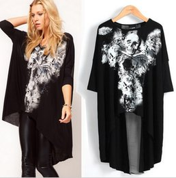 Wholesale Punk Skull Print - Wholesale-Summer Style Punk Rock Skulls Print Sexy Black White Loose Tee Shirt For Women Back Cross T shirt Batwing Sleeve Streetwear Tops