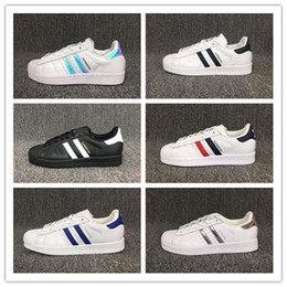 Wholesale Blue Star Sales - Free shipping Man woman Superstars shoes Sneakers Super Star casual shoes women Shell shoes Hot Sale holographic shoes36-44