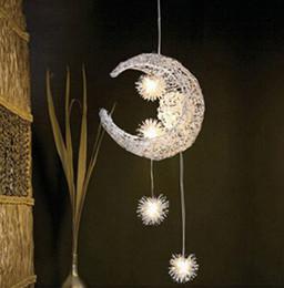 Wholesale Moon Pendant Lamp - New Novelty Kids Room Light Lamp 5*G4 LED Modern Pendant Lighting For Bedroom Moon Star Lights