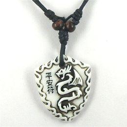 Wholesale Bone Dragon Pendants - Wholesale-Tibetan white Yak bone carving Dragon totem pendant supporter talismans necklace Jewelry free shipping