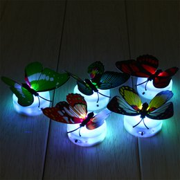 Wholesale Kids Butterfly Lamp - Wholesale- 4pcs lot 7 Color Changing Beautiful Cute Butterfly LED Night Light Baby Kids Room Wall Light Lamp Lamparas Luminarias Lampe