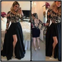 Wholesale Ivory Taffeta Covered Buttons - Sexy See Through Black Barbara Melo Long Sleeves High Low Prom Dresses With Detachable Skirt Lace Applique Evening Party Dresses Gowns
