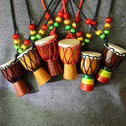Wholesale Wood Ornament Craft - Handmade 1.5 Inch Djembe Ornament Wooden Arfica Drum Necklace Tourist Souvenirs Gadget Collection Crafts 10pcs lot DEC228