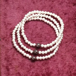 Wholesale Stretchy Silver - Wholesale Fashion Bracelet Beaded Stretchy Bracelets Women Silver Colors Garnet Sterling Silver 4MM Beads Bracelets BS00433-4mm