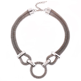 Wholesale Chunky Chain Choker Bibs - 5Pcs Punk Style Silver Plated Bib Statement Necklace For Women 2017 Fashion Circle Collar Vintage Chunky Chain Choker