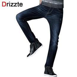 b001eed06ff Wholesale-Drizzte Brand Mens Jeans Fashion Spandex Stretch Elastic Denim  Black Blue Jean Pants Trousers Size 32 33 34 35 36 38 40 42 44