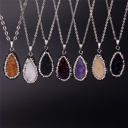 Wholesale Amethyst Druzy Pendant Bead - 6 Colors Available Newest Druzy Amethyst Beads Necklace Oval Blue Champagne Purple White Wine Red Druzy Pave Zircon Crystal Gem Necklace