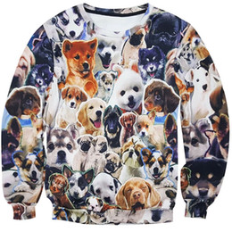 Wholesale Xs Dog Hoodies - Wholesale- New Fashion 2017 Men Women Animal Many Dogs 3D Print Sweatshirts Long Sleeve Hip Hop Casual Hoodies Sweat Homme Autumn Spring