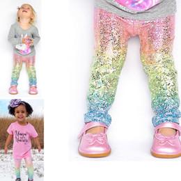 Wholesale Leggings Gradient - Baby Girls Mermaid Scale Gradient Leggings Kids Fashion Glossy Scale Tights Children Long Pants 1-5 Years