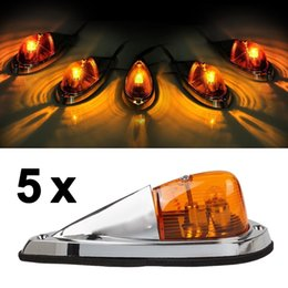 Wholesale Roof Led Lights For Trucks - 5x Universal Teardrop Style Amber led Cab Roof Clearance Marker Lights kit for truck