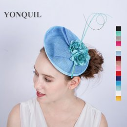 Wholesale Blue Millinery Flowers - 15Colors Fabric Silk flower hair accessories headband hats light blue wedding fascinator base hat DIY millinery women party church SYF142