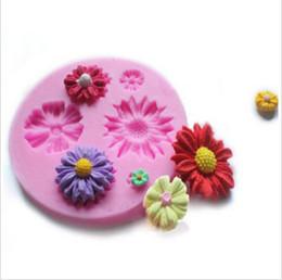 Wholesale Sun Moulds - 2016 Sun Flowers Shape Cake Decoration Tools DIY Silicone Cake Mold
