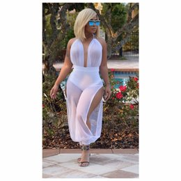 Wholesale Sexy Club Jumpers - Wholesale- Sexy Net Yarn Piece Pants Summer Sexy White Jumpsuits 2017 Women Bodysuit Jumpers Rompers Velvet Bodysuit Sexy Club Jumpsuits