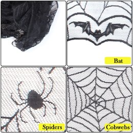 Wholesale Lace Tablecloths Wholesale - 48in*96in Halloween decoration Tablecloth Spider bat and cobwebs lace design for Halloween Party Decoraiton Background Decoration