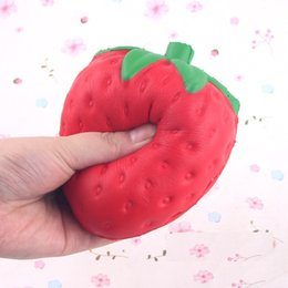 Wholesale Wholesale Free Stuff - 2017 Hottest 11.5*9.5cm Strawberry PU toys Squishy fruit Slow rebound Stuffed Animals Squishy toys DHL Free