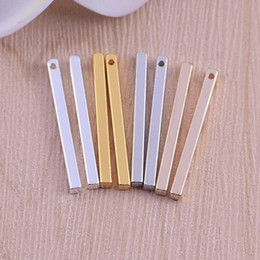 simple small necklace Coupons - Top quality Copper Material Silver gold Small sticks bar charms Simple Bar charm for necklaces Long Strip Pendant for DIY Making Necklace