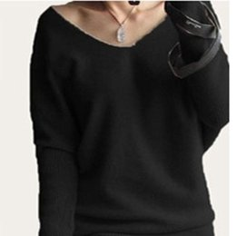 Wholesale Women Loose Plus Size Cashmere - Wholesale-Plus Size 4XL Autumn Winter Cashmere Sweater Women Fashion Sexy V-neck Sweater Loose 100% Wool Sweater
