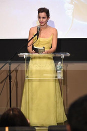 Wholesale Emma Brown - Beauty & Beast Emma Watson Yellow Organza Prom Dresses 2017 Spaghetti Straps Criss Cross Backless Celebrity Party Dress Long Evening Gowns