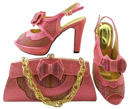 Wholesale Leather Bag Italian - Italy Shoes And Bag Set Upper Material Cotton Fabric African Shoe With Bags Pink Colors Italian Shoe With Matching Bag For Party