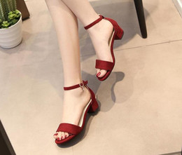 Wholesale Suede Heels Summer - 2017 New Hot Sexy Summer Sandals Women Shoes Medium Heels Ankle Strap Microfiber Leather+Suede Party Shoes Woman 3 Colors Size 35-40