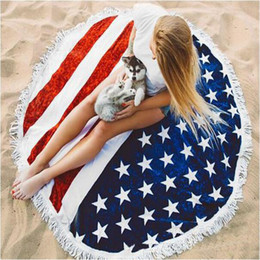 Wholesale Patterned Bikinis - Round Quadrate American Flag Pattern Beach Beach Towel Bikini Cover Bohemian Beachwear Chiffon Beach Sarongs Shawl Bath Towel Yoga Mat