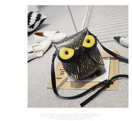Wholesale Owl Bags Crochet - Miyahouse cute owl printed canvas backpack backpack summer female casual PU bag owl design messenger Cute cartoon shoulder Messenger Messeng