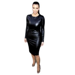 Wholesale Long Nightwear Dress - Wholesale- Sexy black long sleeve nightclub PVC pencil dress package hip nightwear PVC bondage dress O neck night party dress knee length
