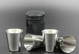 Freies verschiffen gläser porzellan online-4 teile / satz Poliert Mini 30 ml Edelstahl Wein Trinken Schnapsgläser Barware Tasse Kostenloser Versand