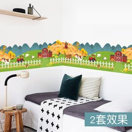 Wholesale Farm Animal Stickers - happy farm animal house fence wall sticker for kids rooms wallpaper decals children gift poster home decor decal mural
