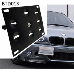 Wholesale Bmw Front License Plate - American Stand Front Bumper Tow Hook License Plate Mount Bracket Holder For BMW Fit Jazz 08 Yaris Mitsubishi Lancer RS-BTD013
