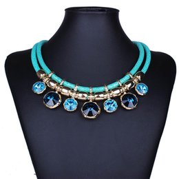 Wholesale Costume Jewelry Diamond Sets - Exquisite Dubai Jewelry Set Luxury Colorful Boho Wedding Imitation Diamonds Beads Necklace Earrings for Women Costume Accessories
