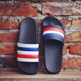 Wholesale Leather Casual Moccasins - 2017 new arrived designer slippers for men women slippers Beach Striped shoes bathroom Non-slip sandals Summer outdoor casual sandals
