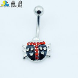 Wholesale Diy Belly Button Ring - Wholesale! DIY Best Selling High Quality Fashion Silver Pole Colorful Rhinestone Bettle Belly Button Rings For Women Body Piecing Jewelry
