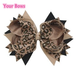 Wholesale Leopard Baby Hair Bow - Wholesale- 1PC 5.5Inches Black Tan Leopard Print Baby Girls Hair Bows Children Hair Clips Stacked Boutique Bows Toddler Hairpins Headwear