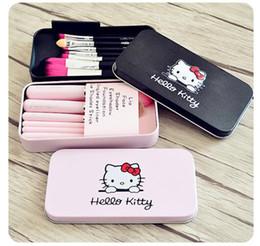Canada Pourpre / rose / noir maquillage de kit de pinceau cosmétique de kit de brosse de maquillage de Kitty de Hello Kitty Rose caisse de fer équipement de beauté de toilette 7pcs ensemble dhl libèrent le bateau Offre