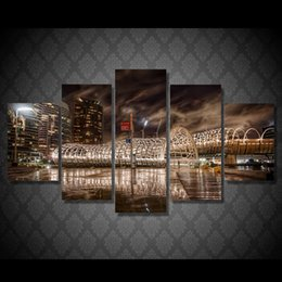 Wholesale Paintings Kandinsky - 5Pcs Set HD Printed Night view of the city Painting Canvas Print room decor print poster picture canvas kandinsky oil painting