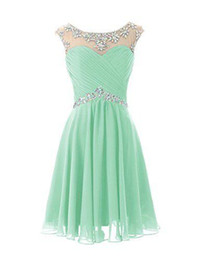 Wholesale Crystal Mints - 2017 Knee Length Cute Mint Sheer Crew Neck Prom Dresses Pleats Backless Real Picture Dresses Bridesmaid Dresse Short cocktail Party Dress