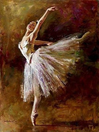 Wholesale Stunning Oil Paintings - Framed Handpainted portrait Art Oil Painting On Canvas,Stunning beautiful young girl ballet Ballerina dancing Multi size Free Shipping Ab87