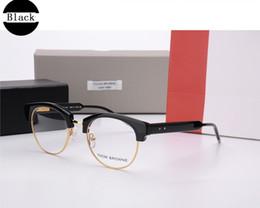 Wholesale Women Optical Frames Metal - New York Brand TB807 Vintage Glasses Women Brand Designer Half Frame Round eyeglasses Retro Eye Glasses Men Optical Eyewear Oculos Gafas