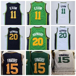 Wholesale Orange Black Favors - Cheap #20 Gordon Hayward Jersey Men's #15 Derrick Favors Basketball Jerseys #11 Dante Exum White Green Blue Stitched